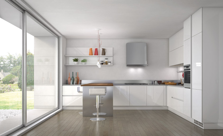 biala kuchnia 7 Nowoczesne białe kuchnie   8 różnych projektów
