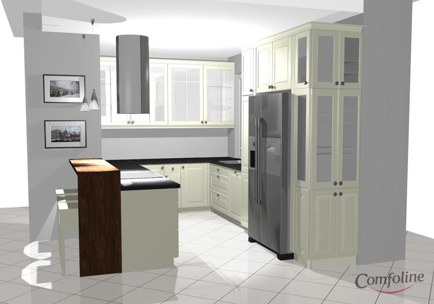 biala kuchnia granitowy blat projekt comfoline 2 Kuchnia prowansalska   projekt