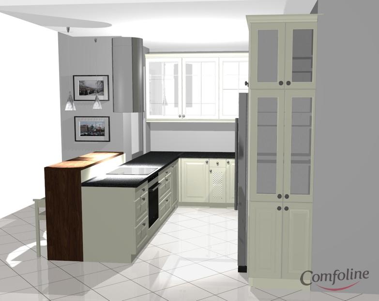 biala kuchnia granitowy blat projekt comfoline 3 Kuchnia prowansalska   projekt
