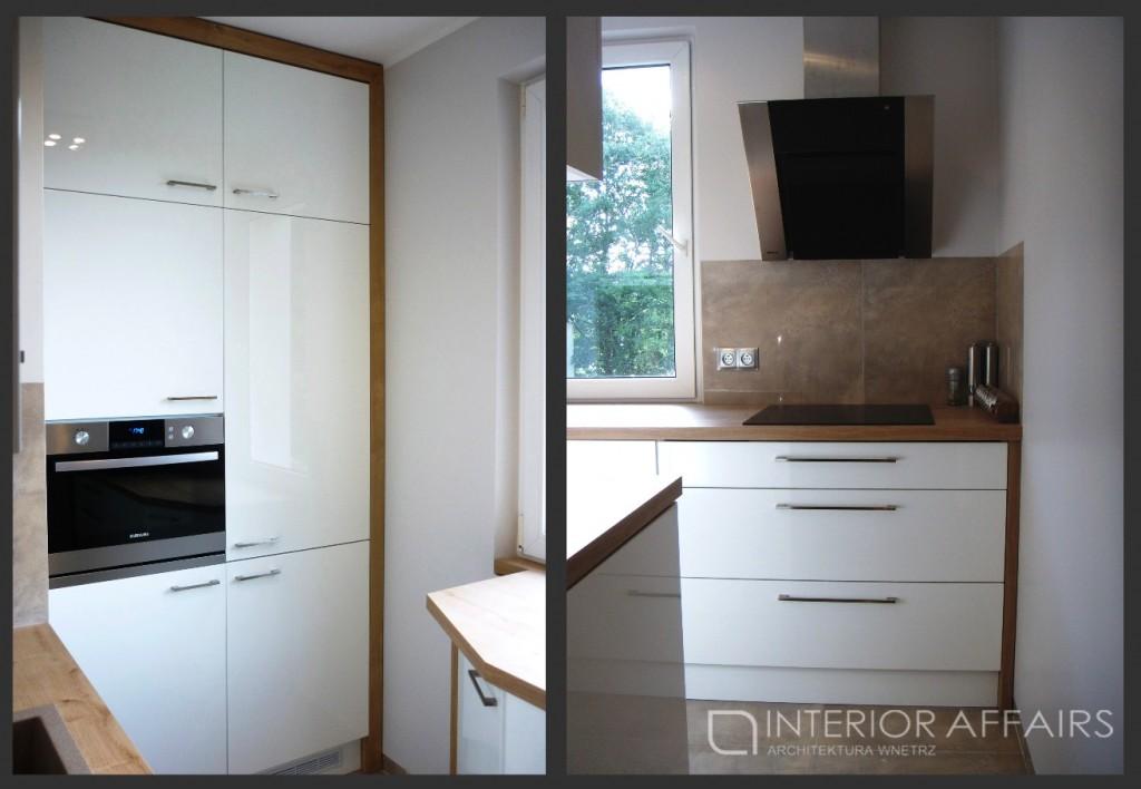 mala biala kuchnia drewniany blat 1024x708 Mała biała kuchnia z drewnianym blatem