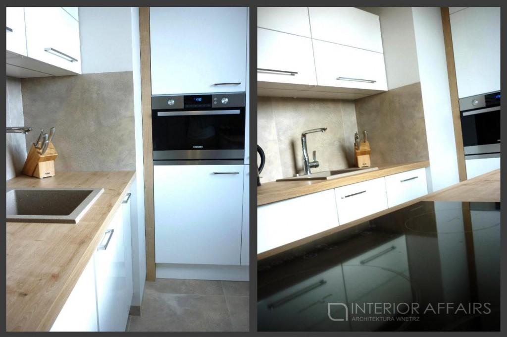 mala biala kuchnia drewniany blat2 1024x680 Mała biała kuchnia z drewnianym blatem